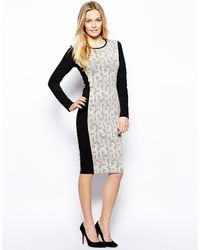 Oasis Textured Ponte Dress - Lyst