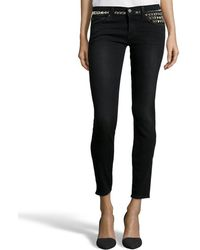 Textile Elizabeth and James Mid Wash Stretch Denim 'Ozzy' Studded Skinny Jeans black - Lyst