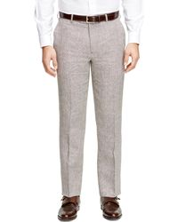 Brooks Brothers Fitzgerald Fit Linen Check Dress Trousers - Lyst