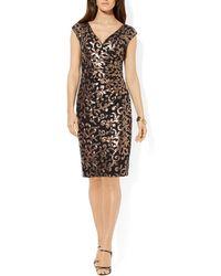 Ralph Lauren Lauren Dress  Vneck Cap Sleeve Metallic Sequin Lace - Lyst