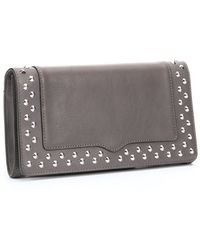 Rebecca Minkoff Charcoal Leather Studded Amorous Clutch - Lyst