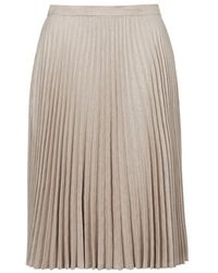 Topshop Suedette Pleated Midi Skirt - Lyst