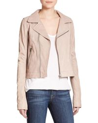 June Slim-Fit Leather Moto Jacket - Lyst