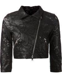 Giorgio Brato Cropped Lace Biker Jacket - Lyst