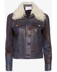 10 Crosby Derek Lam   Shearling Collar Leather Jacket   Lyst