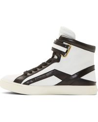 Pierre Balmain Black and White Leather High_top Sneakers - Lyst
