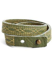 Frye - 'campus Stitch' Leather Wrap Bracelet - Olive - Lyst