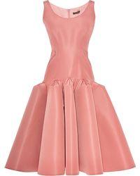 Zac Posen Pleated Hip Silkfaille Dress - Lyst