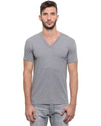 Dolce & Gabbana Cotton Jersey V Neck T-Shirt - Lyst
