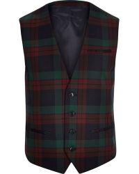 River Island - Dark Red Vito Wool-blend Plaid Vest Dark Red Checked Vito Blazer - Lyst