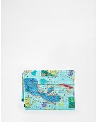 Echo - Pouch Clutch Bag With Map Of Mexico - Lyst