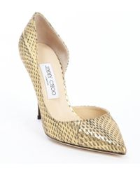 Jimmy Choo Gold Leather Willis Pointed Toe Pumps - Lyst