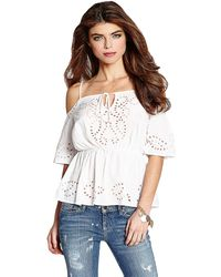 Guess Samantha Eyelet Coldshoulder Top - Lyst