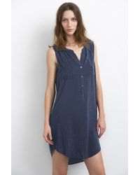 Velvet By Graham & Spencer Eliah Challis Collarless Shirt Dress blue - Lyst