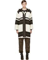 Isabel Marant Ecru and Brown Wool Adil Blanket Coat - Lyst