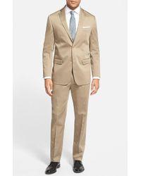 Michael Kors Trim Fit Stretch Cotton Suit beige - Lyst
