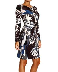Emilio Pucci Dress Long Sleeve Jersey with Belt and Print Appaloosa - Lyst