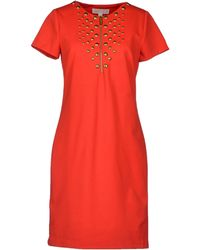 MICHAEL Michael Kors Round Collar Jersey Red Short Dress - Lyst