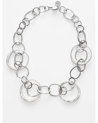 Tory Burch Hammered Metal Collar Necklace - Worn Tory Silver - Lyst