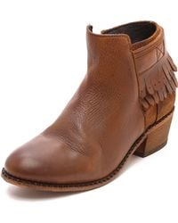 H By Hudson Core Fringe Booties Tan - Lyst