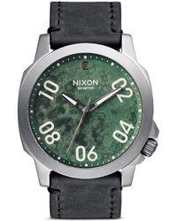 Nixon 'Ranger 45 Leather' Watch green - Lyst