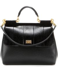 Dolce & Gabbana Miss Sicily Leather and Snakeskin Tote - Lyst