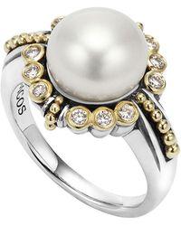 Lagos | 10mm 18k Luna Pearl & Diamond Ring | Lyst