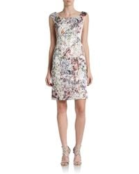 Kay Unger Floralprint Satin Sheath Dress - Lyst