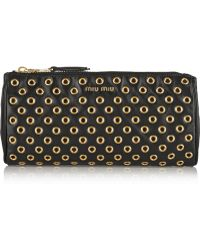 Miu Miu Eyeletembellished Leather Pouch - Lyst