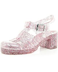 River Island Pink Glitter Block Heel Jelly Shoes - Lyst