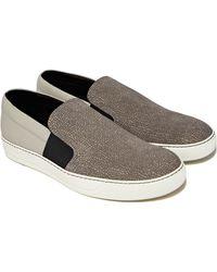 Lanvin Mens Iridescent Grain Slip-On Sneaker - Lyst