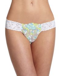 Hanky Panky Embroidered Floral Low-Rise Thong - Lyst