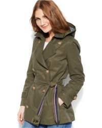 Tommy Hilfiger Hooded Short Trench Coat - Lyst