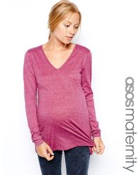 Asos Maternity Top with Long Sleeves and V-Neck - Lyst