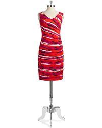 Anne Klein Patterned Faux Wrap Dress - Lyst