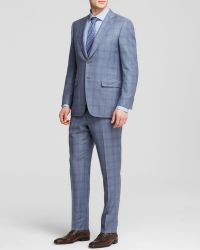 Canali Siena Steel Blue Plaid Super 130S Wool Travel Suit - Classic Fit - Bloomingdale'S Exclusive - Lyst