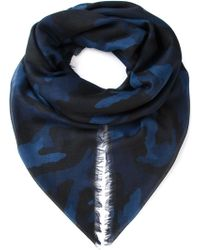 Valentino Blue Camouflage Scarf - Lyst