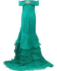 Oscar de la Renta | green Cascade Ruffle Gown | Lyst