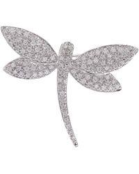 Kojis - White Gold Dragonfly Diamond Brooch - Lyst
