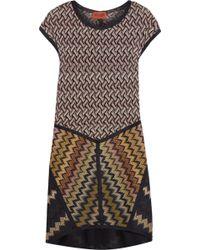 Missoni Crochet-Knit Wool-Blend Dress brown - Lyst