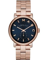 Marc By Marc Jacobs Baker Rose Golden Analog Watch with Bracelet Navy Dial - Lyst