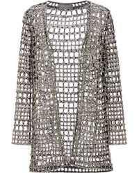 Monique Lhuillier - Crystal Geo Embroidered Cardigan - Lyst