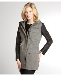 DKNY Pewter and Black Cassidy 4 Pocket Faux Leather Coat - Lyst