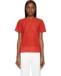 Lanvin Red Lace Poppy Blouse - Lyst