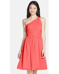 Donna Morgan 'Rhea' One-Shoulder Chiffon Dress - Lyst
