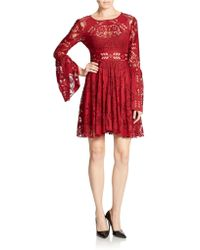 Free People Lace Fit and Flare Dress - Lyst