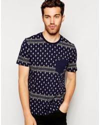 True Religion T-Shirt Paisley Printed One Pocket - Lyst