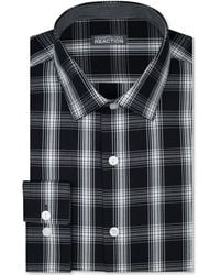 Kenneth Cole Reaction Slimfit Black and White Check Dress Shirt - Lyst