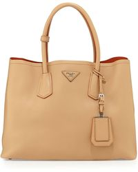 Prada City Calf Medium Double Bag - Lyst