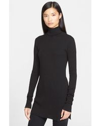 Helmut lang Cotton & Angora Rib Knit Turtleneck Sweater in Black ...